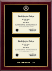 Colorado College Diploma Frame - Masterpiece Medallion Double Diploma Frame in Gallery