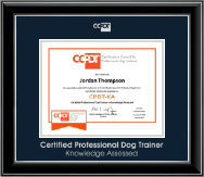 Certification Council for Professional Dog Trainers Certificate Frame - Silver Embossed CPDT-KA Certificate Frame in Onyx Silver