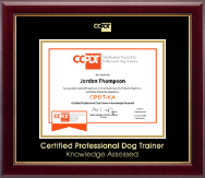 Certification Council for Professional Dog Trainers Certificate Frame - Gold Embossed CPDT-KA Certificate Frame in Gallery