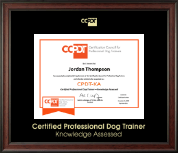 Certification Council for Professional Dog Trainers Certificate Frame - Gold Embossed CPDT-KA Certificate Frame in Studio