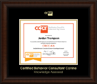 Certification Council for Professional Dog Trainers Certificate Frame - Gold Embossed CBCC-KA Certificate Frame in Lenox