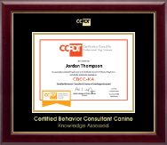 Certification Council for Professional Dog Trainers Certificate Frame - Gold Embossed CBCC-KA Certificate Frame in Gallery