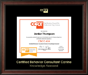 Certification Council for Professional Dog Trainers Certificate Frame - Gold Embossed CBCC-KA Certificate Frame in Studio