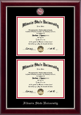 Illinois State University Diploma Frame - Masterpiece Medallion Double Diploma Frame in Gallery Silver