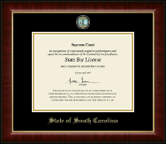 State of South Carolina Certificate Frame - Masterpiece Medallion Certificate Frame in Murano
