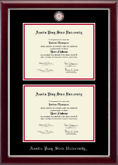 Austin Peay State University Diploma Frame - Masterpiece Medallion Double Diploma Frame in Gallery Silver