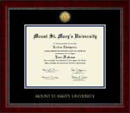 Mount St. Mary's University Diploma Frame - Gold Engraved Medallion Diploma Frame in Sutton