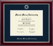 Mount Mercy University Diploma Frame - Silver Embossed Diploma Frame in Gallery Silver