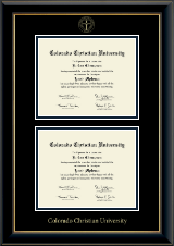Colorado Christian University Diploma Frame - Double Diploma Frame in Onyx Gold