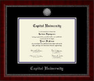 Capital University Diploma Frame - Silver Engraved Medallion Diploma Frame in Sutton