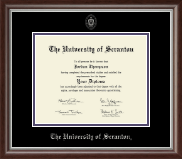 The University of Scranton Diploma Frame - Silver Embossed Diploma Frame in Devonshire