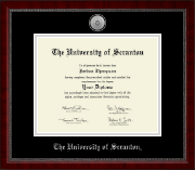 The University of Scranton Diploma Frame - Silver Engraved Medallion Diploma Frame in Sutton
