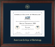 American College of Radiology Certificate Frame - Gold Embossed Certificate Frame in Studio