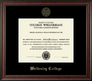 Wellesley College Diploma Frame - Gold Embossed Diploma Frame in Studio