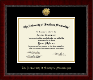The University of Southern Mississippi Diploma Frame - Gold Engraved Medallion Diploma Frame in Sutton