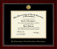 The University of North Carolina Greensboro Diploma Frame - Gold Engraved Medallion Diploma Frame in Sutton
