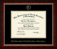 The University of North Carolina Greensboro Diploma Frame - Gold Embossed Diploma Frame in Murano