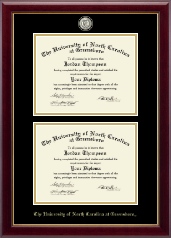 The University of North Carolina Greensboro Diploma Frame - Masterpiece Medallion Double Diploma Frame in Gallery