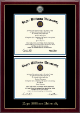 Roger Williams University Diploma Frame - Masterpiece Medallion Double Diploma Frame in Gallery