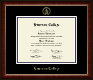 Emerson College Diploma Frame - Gold Embossed Diploma Frame in Murano