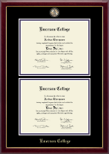 Emerson College Diploma Frame - Masterpiece Medallion Double Diploma Frame in Gallery