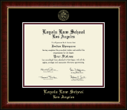 Loyola Law School Los Angeles Diploma Frame - Gold Embossed Diploma Frame in Murano