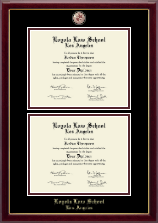 Loyola Law School Los Angeles Diploma Frame - Masterpiece Medallion Double Diploma Frame in Gallery