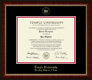Temple University Law School Diploma Frame - Gold Embossed Diploma Frame in Murano
