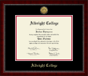 Albright College Diploma Frame - Gold Engraved Medallion Diploma Frame in Sutton