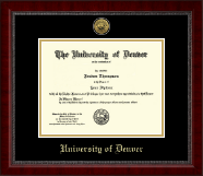 University of Denver Diploma Frame - Gold Engraved Medallion Diploma Frame in Sutton