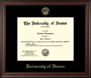 University of Denver Diploma Frame - Gold Embossed Diploma Frame in Studio