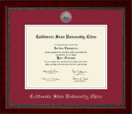 California State University Chico Diploma Frame - Silver Engraved Medallion Diploma Frame in Sutton