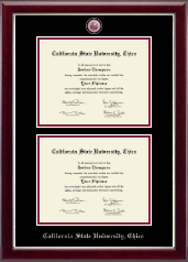 California State University Chico Diploma Frame - Masterpiece Medallion Double Diploma Frame in Gallery Silver