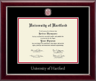 University of Hartford Diploma Frame - Masterpiece Medallion Diploma Frame in Gallery Silver