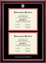 University of Hartford Diploma Frame - Masterpiece Medallion Double Diploma Frame in Gallery Silver