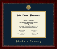 John Carroll University Diploma Frame - Gold Engraved Medallion Diploma Frame in Sutton