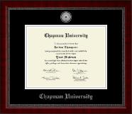 Chapman University Diploma Frame - Silver Engraved Medallion Diploma Frame in Sutton