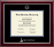 Ohio Christian University Diploma Frame - Silver Embossed Diploma Frame in Gallery Silver
