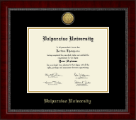 Valparaiso University Diploma Frame - Gold Engraved Medallion Diploma Frame in Sutton
