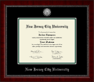 New Jersey City University Diploma Frame - Silver Engraved Medallion Diploma Frame in Sutton