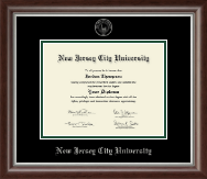 New Jersey City University Diploma Frame - Silver Embossed Diploma Frame in Devonshire