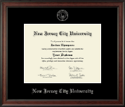 New Jersey City University Diploma Frame - Silver Embossed Diploma Frame in Studio