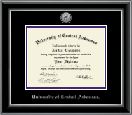 University of Central Arkansas Diploma Frame - Silver Engraved Medallion Diploma Frame in Onyx Silver
