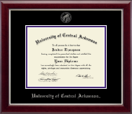 University of Central Arkansas Diploma Frame - Silver Embossed Diploma Frame in Gallery Silver