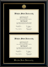 Wichita State University Diploma Frame - Gold Engraved Double Diploma Frame in Onyx Gold