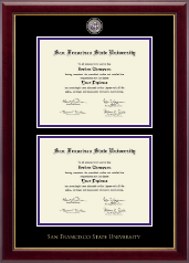 San Francisco State University Diploma Frame - Masterpiece Medallion Double Diploma Frame in Gallery