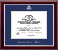 Colorado School of Mines Diploma Frame - Masterpiece Medallion Diploma Frame in Gallery Silver