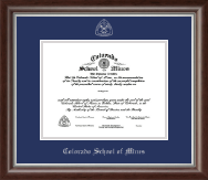 Colorado School of Mines Diploma Frame - Silver Embossed Diploma Frame in Devonshire