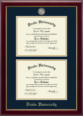 Drake University Diploma Frame - Masterpiece Medallion Double Diploma Frame in Gallery