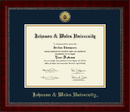 Johnson & Wales University in Rhode Island Diploma Frame - Gold Engraved Medallion Diploma Frame in Sutton